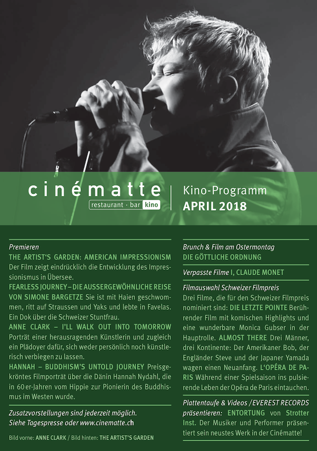 Cinematte Film Programm April 2018