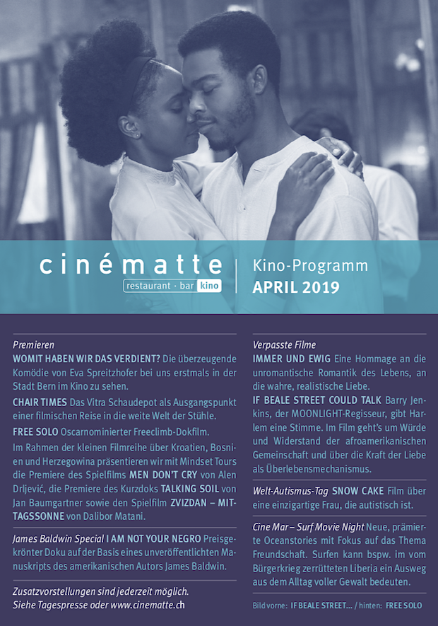 Cinematte Film Programm April 2019
