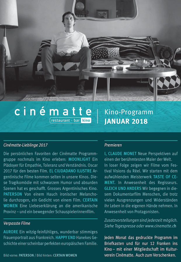 Cinematte Film Programm Januar 2018