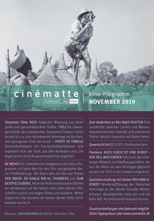 Cinematte Film Programm November 2019