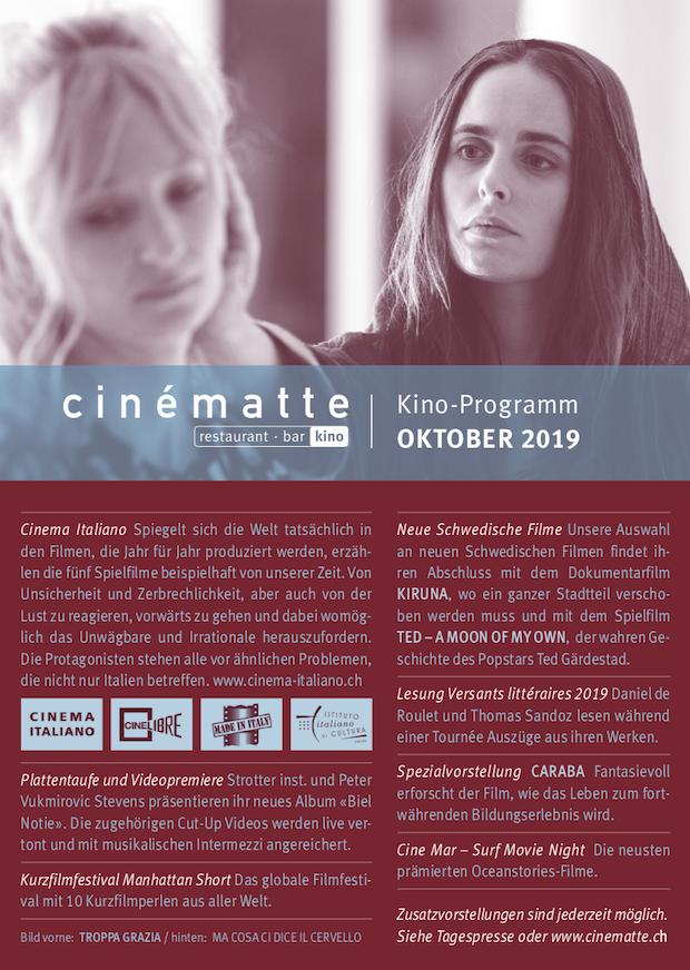 Cinematte Film Programm Oktober 2019