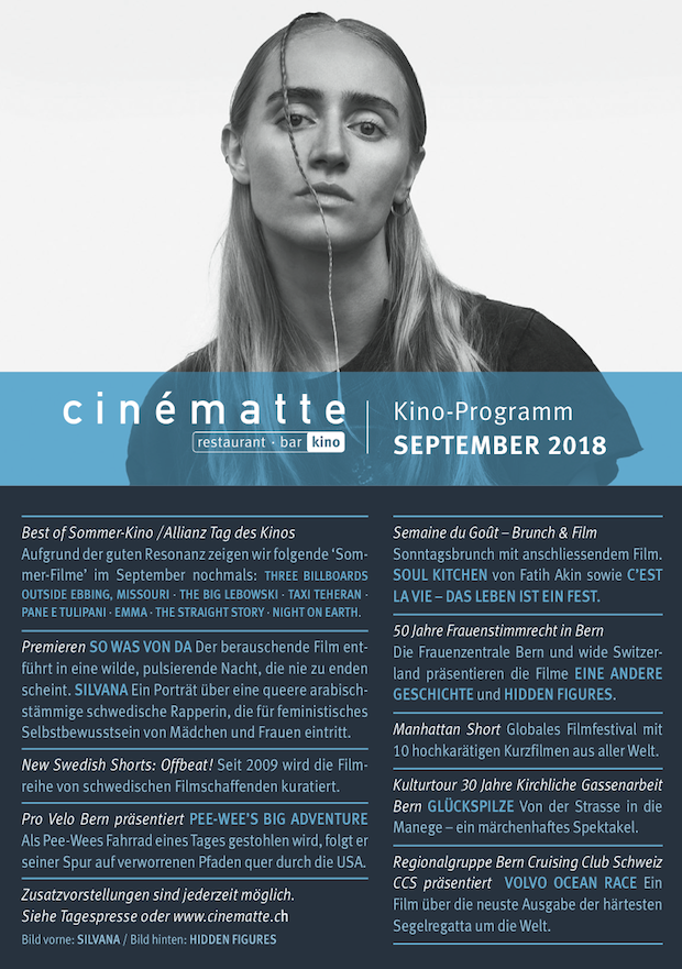 Cinematte Film-Programm September 2018