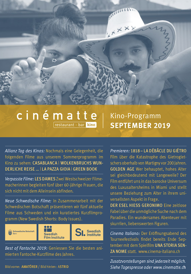 Cinematte Film Programm September 2019