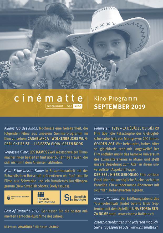 Cinematte Film Programm September 2019