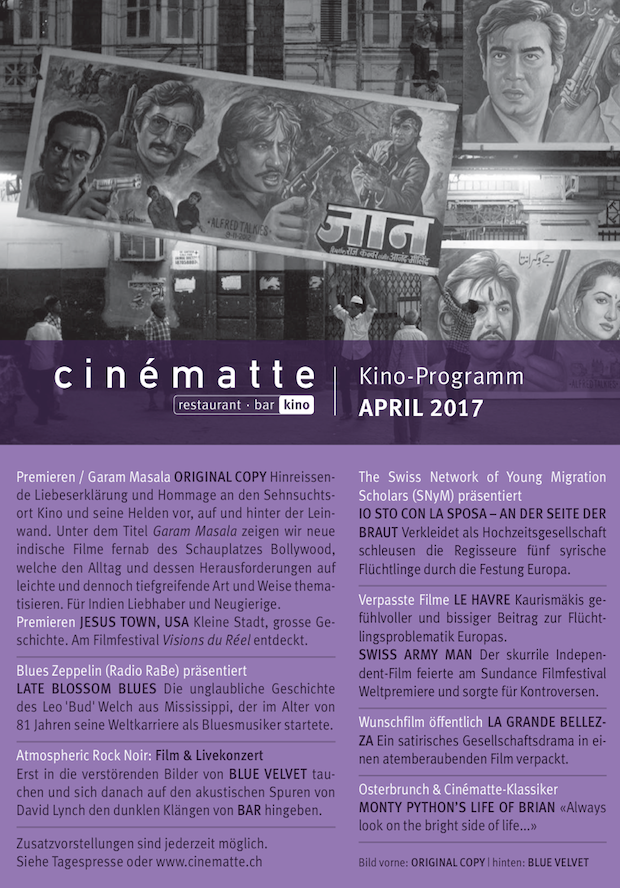 Kino Programm Cinematte April 2017