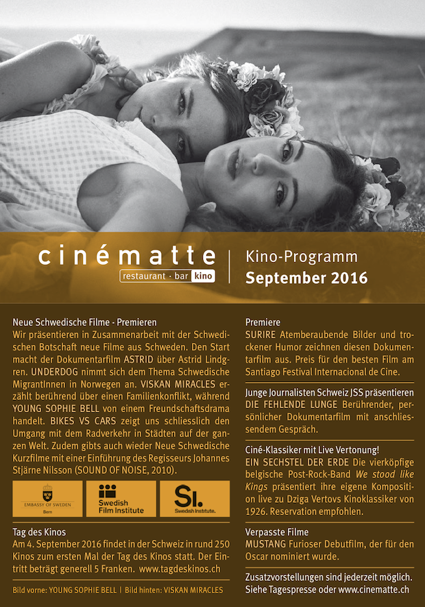 Kino Programm Cinematte September 2016